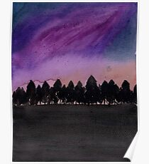 Watercolour Night Galaxy Forest Poster