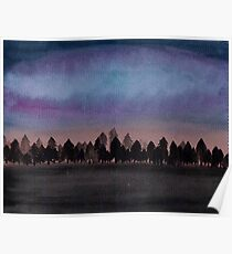 Watercolour Galaxy Night Sky Forest Poster