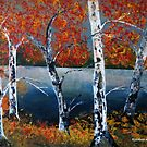 Painting birch trees by Elizabeth Kendall