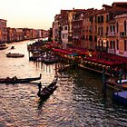 Impressions Of Venice - Warm Dusk and Gondolas on the Grand Canal  by Georgia Mizuleva