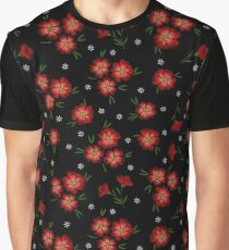Red Embroidered Floral Pattern Graphic T-Shirt