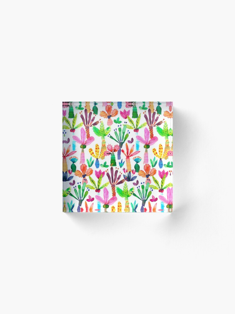 Alternate view of Jungle tropical garden - Fun palms pattern Acrylic Block