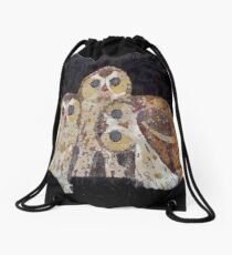 Three Owls In Mosaic Art Nouveau Style Drawstring Bag