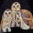 Three Owls In Mosaic Art Nouveau Style by taiche
