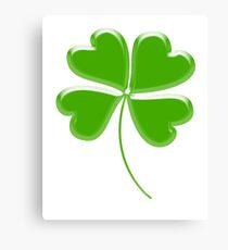 Lucky Four leaf Clover, GOOD LUCK Canvas Print