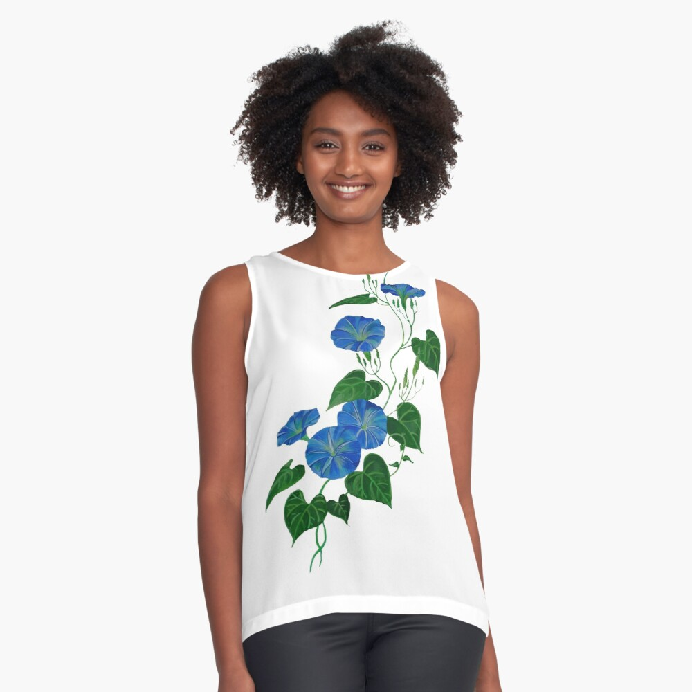 Victorian Style Blue Bindweed Wildflower  Contrast Tank Front