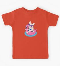 Frenchie enjoys Summer on Flamingo Pool Float in swimming pool Kids Clothes