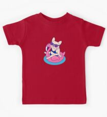 Frenchie enjoys Summer on Flamingo Pool Float in swimming pool Kids Tee