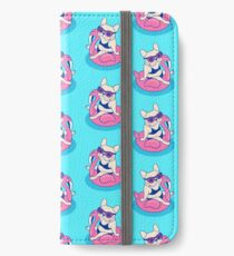 Frenchie enjoys Summer on Flamingo Pool Float in swimming pool iPhone Wallet/Case/Skin