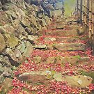 Wabisabi Rubble Masonry Bamboo Fence Fallen Leaves by Beverly Claire Kaiya