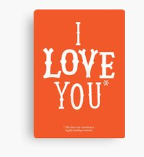 I Love You* Canvas Print