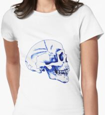 Gothic Skull Ink Drawing Womens Fitted T-Shirt