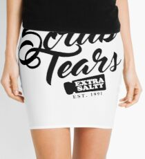 Delectable Scrub Tears, Extra Salty (Black Text) Mini Skirt