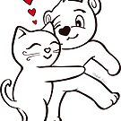 Cat Loves Bear Hug Stickers, Cards, Prints, T-Shirts & More by misook