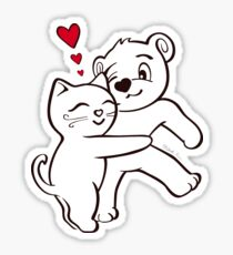 Cat Loves Bear Hug Stickers, Cards, Prints, T-Shirts & More Sticker