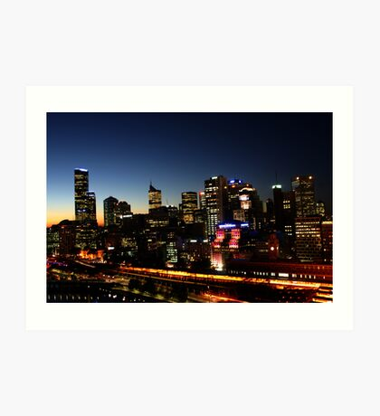 Cityscape of Melbourne by night Art Print