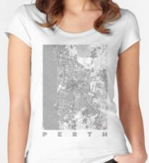 Perth Map Line Women's Fitted Scoop T-Shirt