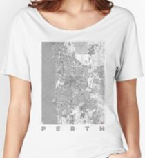 Perth Map Line Women's Relaxed Fit T-Shirt