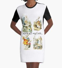 Alice In Wonderland Gift 'We're all mad here' Original Illustrations Graphic T-Shirt Dress