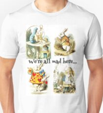 Alice In Wonderland Gift 'We're all mad here' Original Illustrations T-Shirt