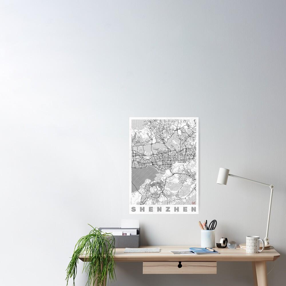 Shenzhen Map Line Poster