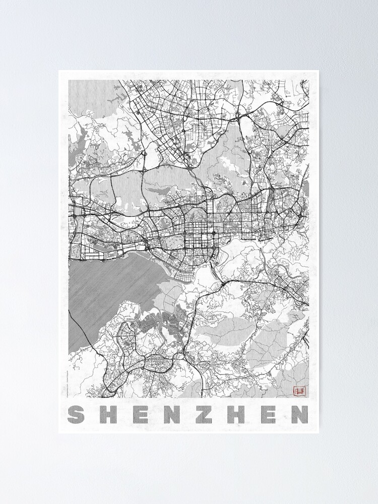 Alternate view of Shenzhen Map Line Poster