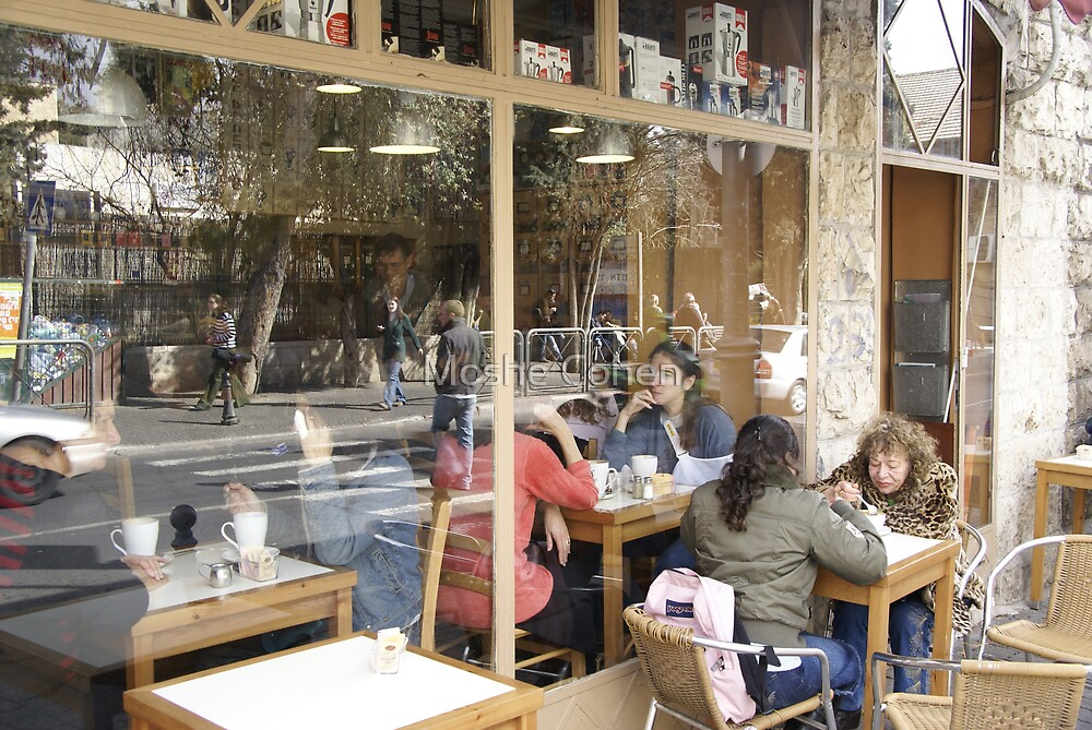 Coffe shop reflections by Moshe Cohen