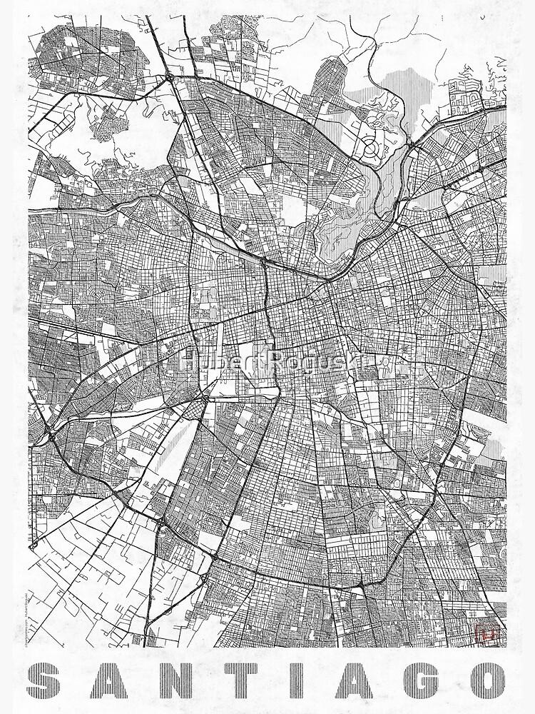 Santiago Map Line by HubertRoguski