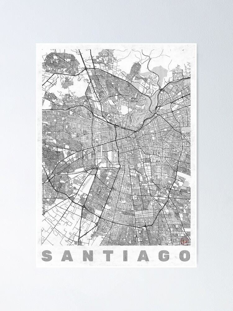 Alternate view of Santiago Map Line Poster