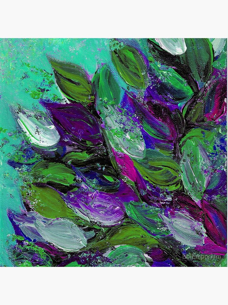 BLOOMING BEAUTIFUL Mint Green Purple Elegant Floral Abstract Leaves Garden Whimsical Textural Colorful Acrylic Flowers Painting by EbiEmporium