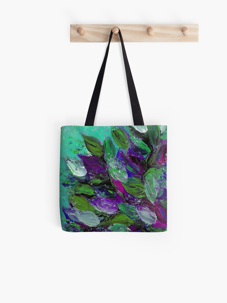 BLOOMING BEAUTIFUL Mint Green Purple Elegant Floral Abstract Leaves Garden  Whimsical Textural Colorful Acrylic Flowers Painting | Tote Bag