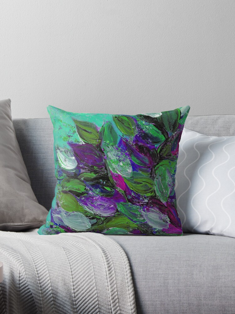 blooming beautiful mint green purple elegant floral abstract leaves garden whimsical textural colorful acrylic flowers painting