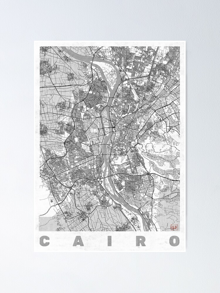 Alternate view of Cairo Map Line Poster