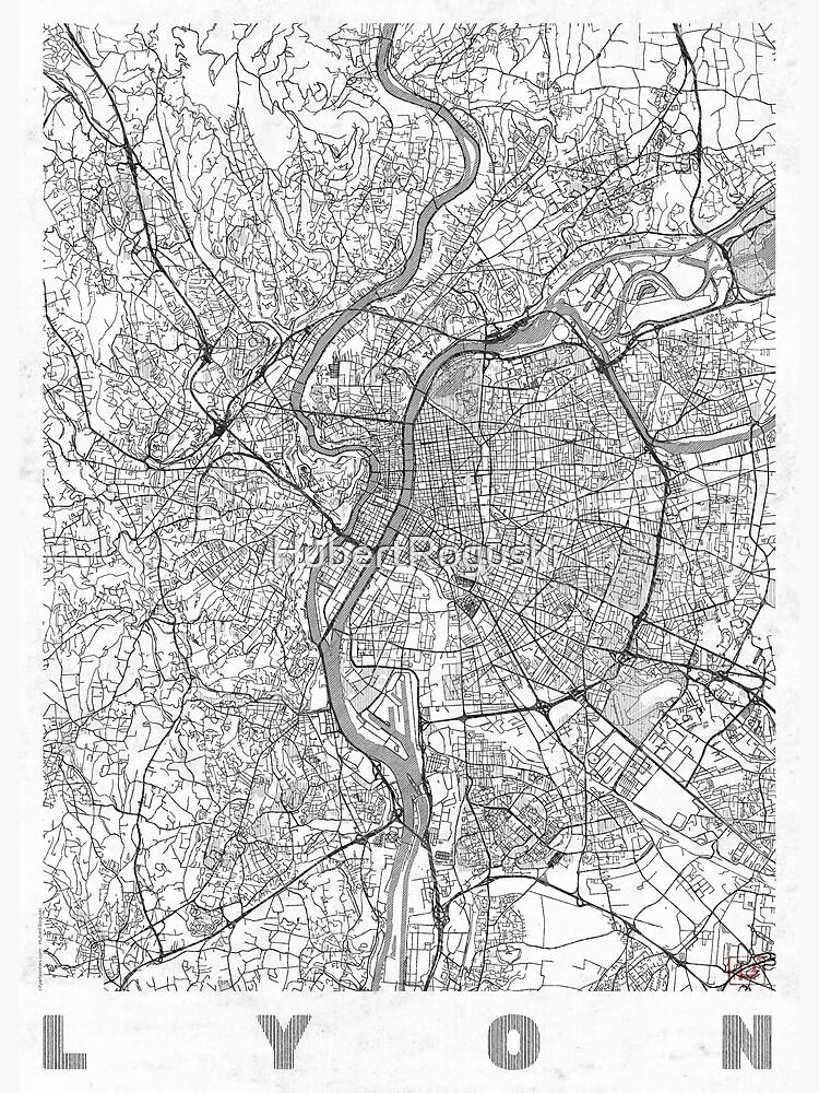 Lyon Map Line by HubertRoguski