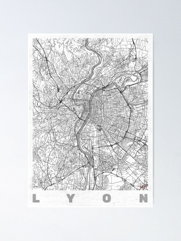 Alternate view of Lyon Map Line Poster
