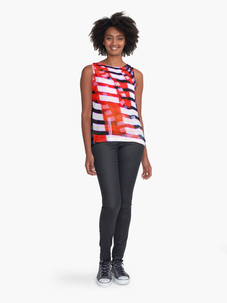 Alternate view of Red White and Blue Abstract Light Pattern Print Sleeveless Top