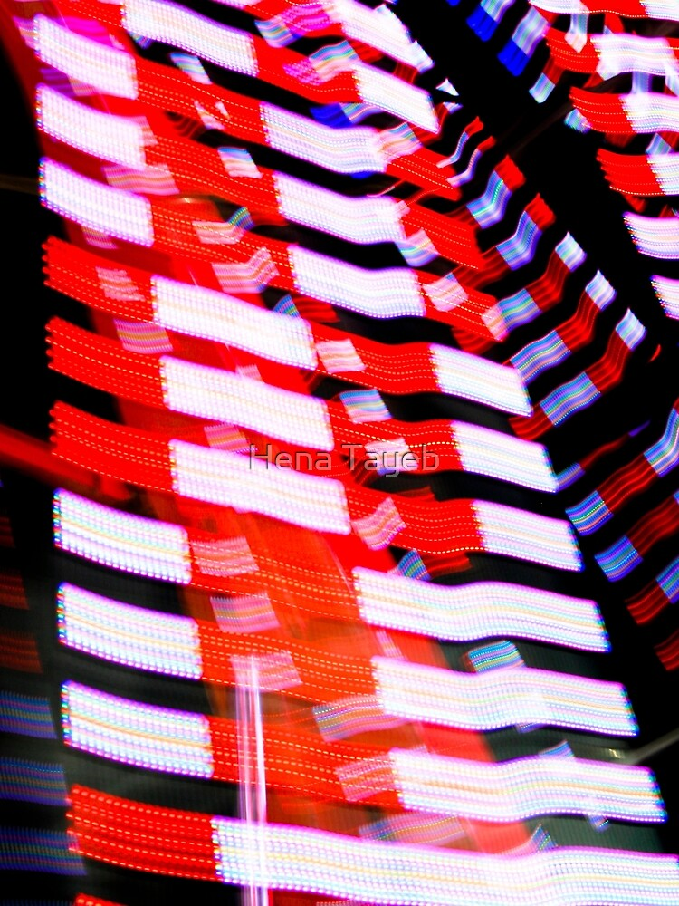 Red White and Blue Abstract Light Pattern Print by henzy