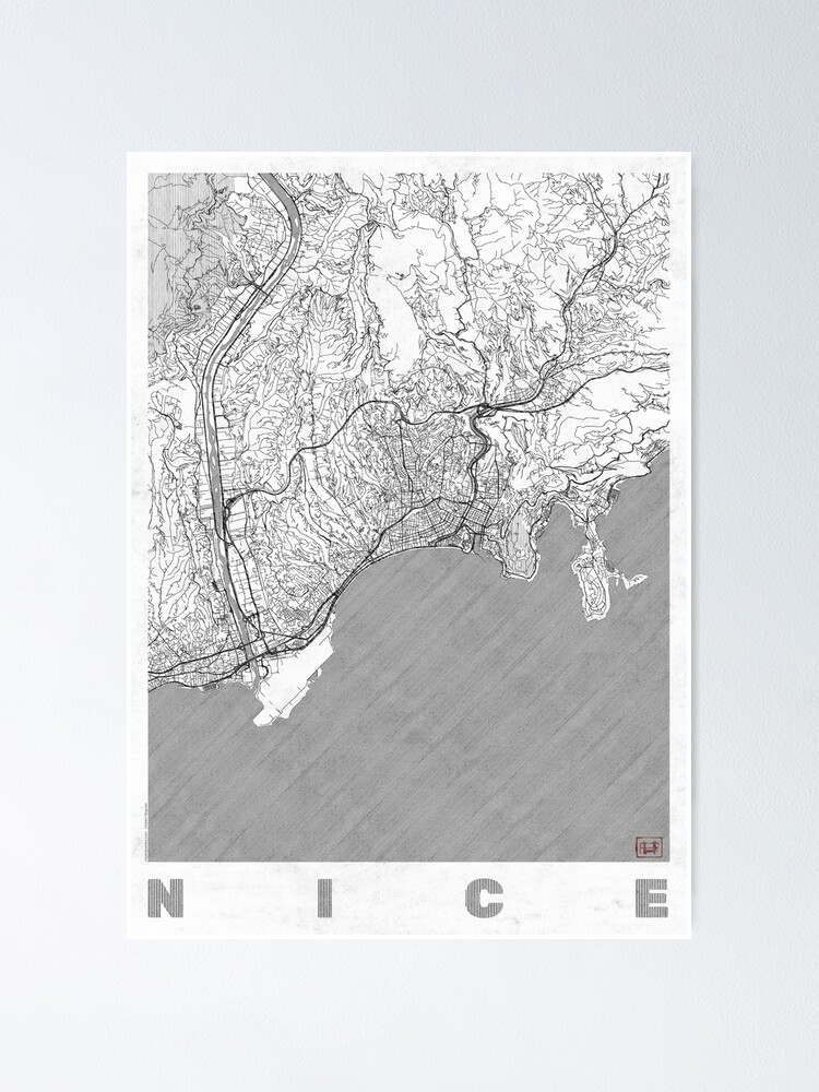 Alternate view of Nice Map Line Poster
