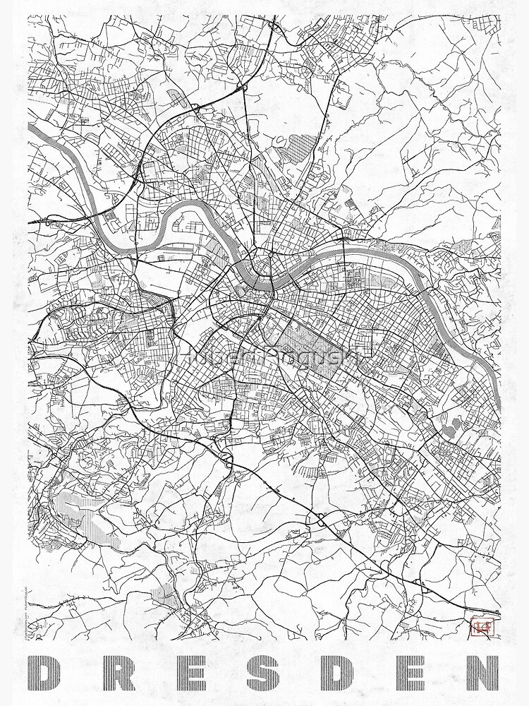 Dresden Map Line by HubertRoguski