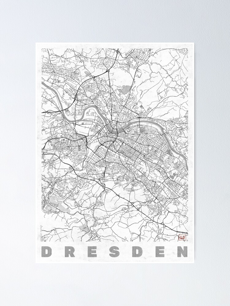 Alternate view of Dresden Map Line Poster