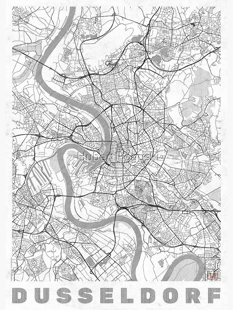 Dusseldorf Map Line by HubertRoguski