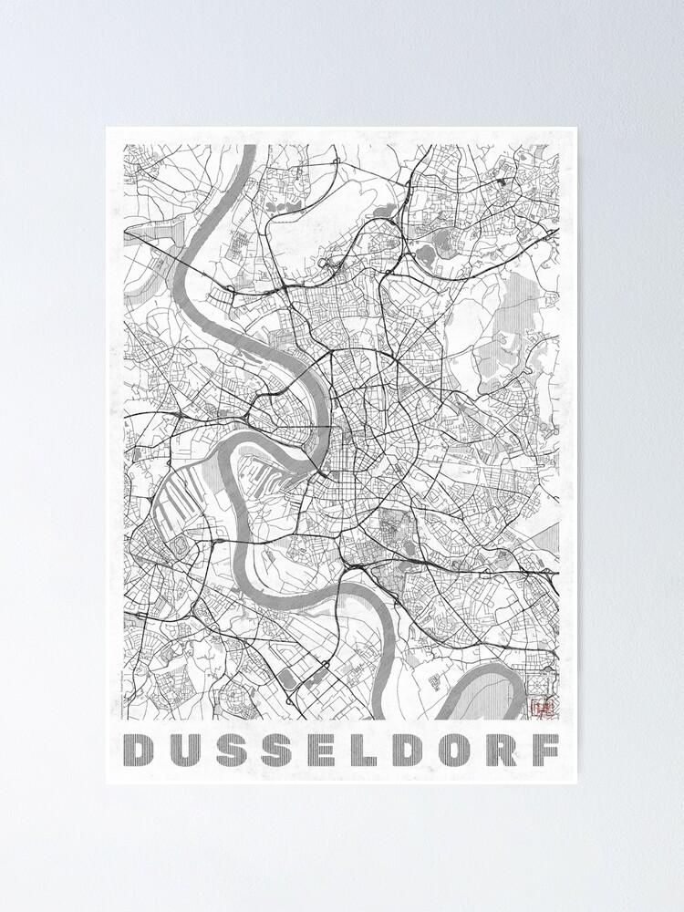Alternate view of Dusseldorf Map Line Poster