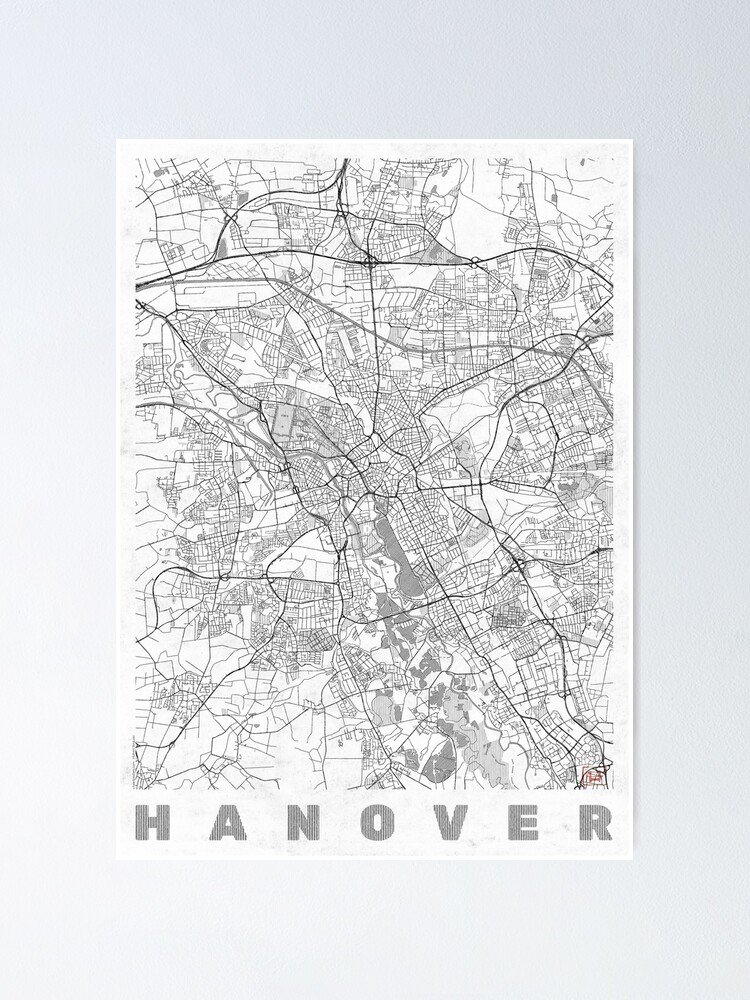 Alternate view of Hanover Map Line Poster