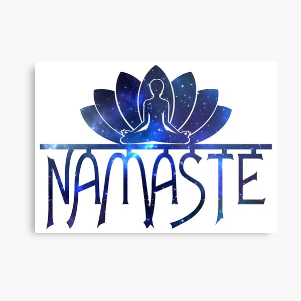 Galaxy Namaste Yoga Lotus Flower Metal Print