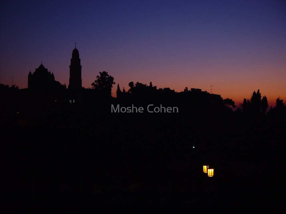 Jerusalem night shadows by Moshe Cohen