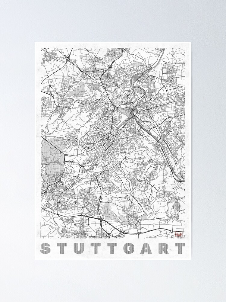 Alternate view of Stuttgart Map Line Poster