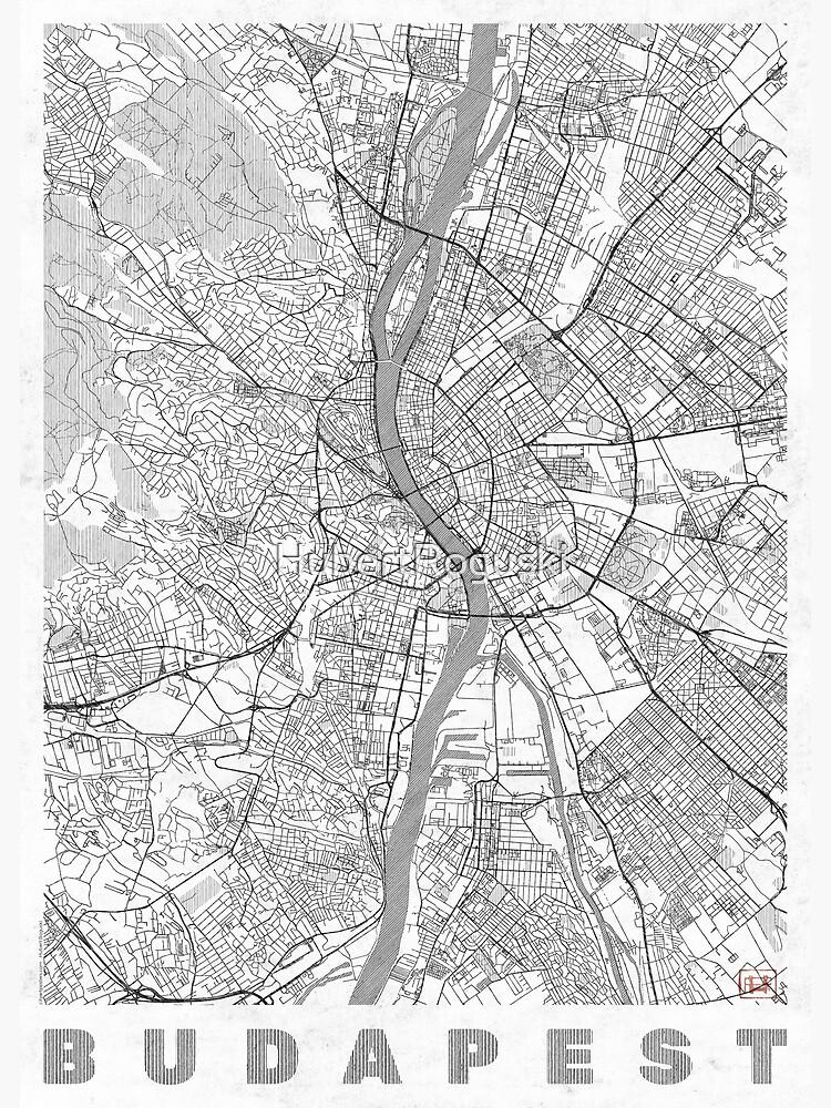 Budapest Map Line by HubertRoguski
