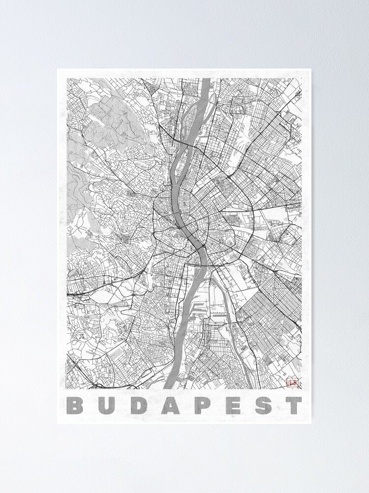 Alternate view of Budapest Map Line Poster