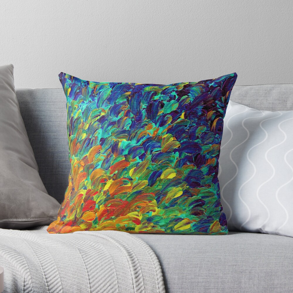 FOLLOW THE CURRENT 1, Bold Colorful Abstract Acrylic Painting Ocean Waves Blue Orange Splash Ombre Fine Art Throw Pillow