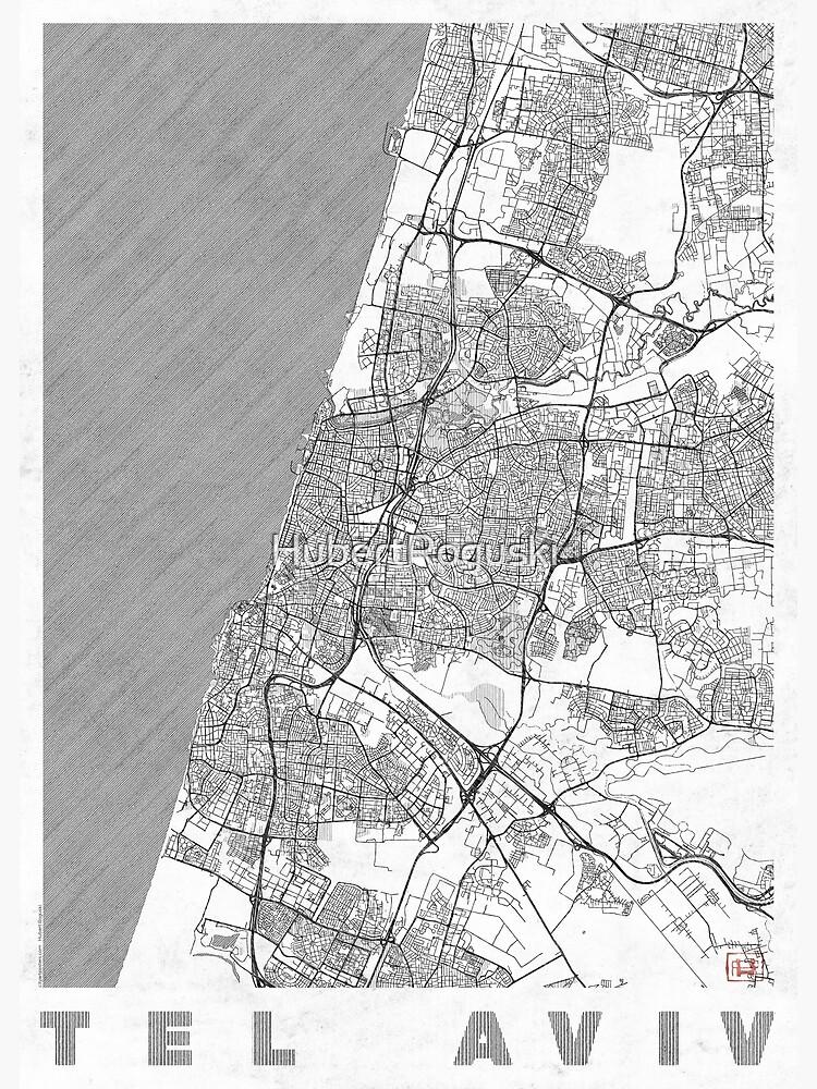 Tel Aviv Map Line by HubertRoguski